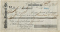Western Expansion:Cowboy, Wells, Fargo & Company: 1887 Check Signed by President of theCompany, Lloyd Tevis....