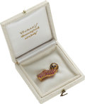 Political:Presidential Relics, Soccer Pin in 18K Gold with Rubies, Sapphires, and a Diamond, Benefiting Lady Bird Johnson Wildflower Center....