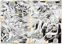 Gene Colan and Tom Palmer Daredevil #93 Double-Splash Pages 26 and 27 Original Art (Marvel, 1972).... (Total: 2 Items)