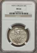 Commemorative Silver: , 1939-S 50C Oregon MS66 NGC. NGC Census: (297/101). PCGS Population(258/88). Mintage: 3,005. Numismedia Wsl. Price for prob...