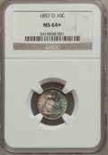 Seated Dimes: , 1857-O 10C MS64+ NGC. NGC Census: (29/33). PCGS Population (25/21).Mintage: 1,540,000. (#4615)...