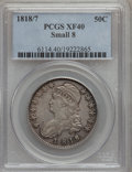 Bust Half Dollars: , 1818/7 50C Small 8 XF40 PCGS. PCGS Population (13/92). NGC Census:(16/189). Numismedia Wsl. Price for problem free NGC/PC...