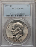 Eisenhower Dollars: , 1977-D $1 MS66 PCGS. PCGS Population (427/5). NGC Census: (1756/8). Mintage: 32,983,006. Numismedia Wsl. Price for problem ...