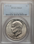 Eisenhower Dollars: , 1971-D $1 MS65 PCGS. PCGS Population (2342/828). NGC Census:(1157/609). Mintage: 68,587,424. Numismedia Wsl. Price for pro...