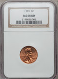 Lincoln Cents: , 1993 1C MS68 Red NGC. NGC Census: (50/1). PCGS Population (126/1).Numismedia Wsl. Price for problem free NGC/PCGS coin in...