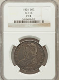 Bust Half Dollars, 1824 50C Fine 12 NGC. O-115. NGC Census: (5/851). PCGS Population(9/931). Mintage: 3,504,954. Numismedia Wsl. Price for pr...