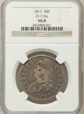 Bust Half Dollars, 1817 50C VG8 NGC. O-110a. NGC Census: (9/409). PCGS Population(6/550). Mintage: 1,215,567. Numismedia Wsl. Price for probl...
