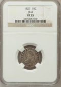 Bust Dimes, 1827 10C VF35 NGC. JR-4. NGC Census: (4/237). PCGS Population(15/236). Mintage: 1,300,000. Numismedia Wsl. Price for probl...