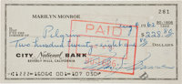 A Marilyn Monroe Likely Final Signed Check, August 4, 1962