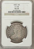 Bust Half Dollars, 1808 50C VG10 NGC. O-108. NGC Census: (11/431). PCGS Population(6/561). Mintage: 1,368,600. Numismedia Wsl. Price for prob...