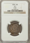 Bust Quarters, 1834 25C Fine 15 NGC. B-3. NGC Census: (12/428). PCGS Population (13/556). Mintage: 286,000. Numismedia Wsl. Price for prob...
