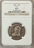 Bust Quarters, 1821 25C AG3 NGC. B-3. NGC Census: (0/209). PCGS Population(2/285). Mintage: 216,851. Numismedia Wsl. Price for problem fr...