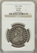 Bust Half Dollars, 1812 50C VF25 NGC. O-104a. NGC Census: (15/704). PCGS Population(38/806). Mintage: 1,628,059. Numismedia Wsl. Price for pr...