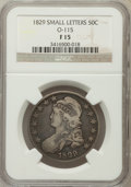 Bust Half Dollars, 1829 50C Small Letters Fine 15 NGC. O-115. NGC Census: (11/1059).PCGS Population (9/1324). Mintage: 3,712,156. Numismedia ...