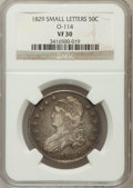 Bust Half Dollars, 1829 50C Small Letters VF30 NGC. O-114. NGC Census: (28/1000). PCGSPopulation (53/1224). Mintage: 3,712,156. Numismedia Ws...