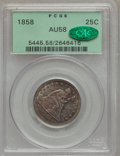 Seated Quarters: , 1858 25C AU58 PCGS. CAC. PCGS Population (24/226). NGC Census:(27/201). Mintage: 7,368,000. Numismedia Wsl. Price for prob...
