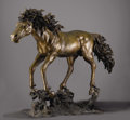 Fine Art - Sculpture, American:Contemporary (1950 to present), A Full Scale American Bronze Horse. American. Twentieth Century.Bronze with gold and dark brown patina. Marks: various f...
