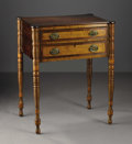 Furniture , An American Two Drawer Stand. New England, America. Early Nineteenth Century. Maple and cherry wood. 28.5 in. x 23 in. x 1...