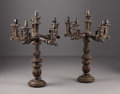 Decorative Arts, Continental:Lamps & Lighting, A Pair of Carved Wood Continental Candelabrum. Italian. LateNineteenth Century. Polychromed wood. 33 in. high (each). E...(Total: 2 Items)