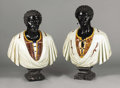 Fine Art - Sculpture, European:Antique (Pre 1900), A Pair of Italian Carved Multi-colored Marble Busts of Moors.Unknown maker, Italy. Nineteenth Century. Marble and lapis l...(Total: 2 Items)