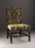 Furniture, A Chinese Chippendale Style Side Chair. English. Early Twentieth Century. Polychromed wood and gilt. 39 in. high. The cr...