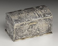 Silver Smalls:Snuff Boxes, A Continental Silver Snuff Box. Unknown maker, Continental.Nineteenth Century. Silver and silver gilt. Marks: (cat), (gr...