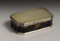 Silver Smalls:Snuff Boxes, A Continental Mother-of-Pearl, Tortoiseshell and Silver Snuff Box.Unknown maker, Continental. Nineteenth Century. Mother-...
