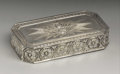 Silver Smalls:Snuff Boxes, A Continental Silver Snuff Box . Unknown maker, Continental.Nineteenth Century. Silver and silver gilt. Marks: (swan), ...