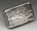 Silver Smalls:Snuff Boxes, A Russian Silver and Niello Snuff Box. Unknown maker, Moscow,Russia. 1856. Silver, silver gilt and niello. Marks: (Mosco...