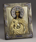 Decorative Arts, Continental:Other , A Russian Silver Gilt and Enamel Icon. Unknown maker, Moscow,Russia. 1896-1908. Silver gilt, enamel, oil on board. Marks:...