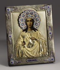 A Russian Silver Gilt and Enamel Icon  Unknown maker, Moscow, Russia 1896-1908 Silver gilt, enamel, oil on board Marks:...