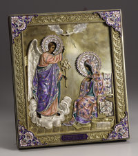 A Russian Silver Gilt and Enamel Icon: The Annunciation  Pavel Akimov Ovchinnikov, Moscow, Russia 1896-08 Silver gi