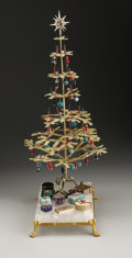 Decorative Arts, Continental:Other , Russian Christmas Tree Ensemble. Russia. Early Twentieth Century.Gilt bronze, rock crystal and hardstones. 13.37 in. high... (Total:14 Items)
