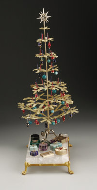 Russian Christmas Tree Ensemble  Russia Early Twentieth Century Gilt bronze, rock crystal and hardstones 13.37 in. high...