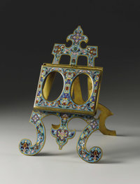 A French Champleve Enamel Frame  Unknown maker, French Late Nineteenth/Early Twentieth Century Champleve enamel Marks:...