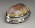 Silver Smalls:Snuff Boxes, An American Cowrie Shell and Silver Snuff Box. Unknown maker,American. Nineteenth Century. Cowrie shell and silver. Marks...