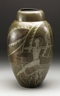 A French Art Deco Vase  Unknown maker, France Circa 1925-30 Patinated brass with silvered inlay Marks: signed g pant