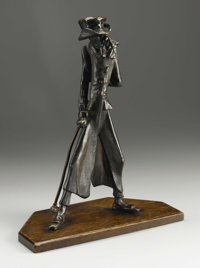 An English Bronze Dickensian Candlestick  England Nineteenth Century Bronze with brown patina, wood 13 in. high  Fas