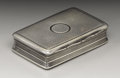 Silver Smalls:Snuff Boxes, A George III Silver Snuff Box. Unknown maker, Birmingham, England.1817-18. Silver and silver gilt. Marks: (lion passant)...