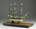 Decorative Arts, French:Other , A French Prisoner-of-War Ivory Model of a Ship. Unknown maker,France. Early Nineteenth Century. Ivory, wood, string. ...