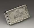 Silver Smalls:Snuff Boxes, A French Silver Snuff Box. Unknown maker, France. Mid NineteenthCentury. Silver. Marks: (swan). 2.5 in. long, 1.36 troy ...