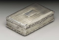 Silver Smalls:Snuff Boxes, A George III Silver Snuff Box. John Shaw, Birmingham, England.1817-18. Silver and silver gilt. Marks: (lion passant), (m...