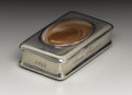 Silver Smalls:Snuff Boxes, A George III Silver and Agate Snuff Box. John Shaw, Birmingham,England. 1814-15. Silver, silver gilt and agate. Marks: (...