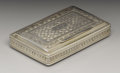 Silver Smalls:Snuff Boxes, A George IV Silver Snuff Box . Ledsam and Vale, Birmingham,England. 1821-22. Silver and silver gilt. Marks: (lion passan...