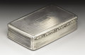 Silver Smalls:Snuff Boxes, A George IV Silver Snuff Box . Edward Smith, Birmingham, England.1834-35. Silver and silver gilt. Marks: (lion passant),...