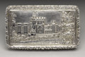 Silver Smalls:Snuff Boxes, A Victorian Silver Castle-top Snuff Box. Nathaniel Mills,Birmingham, England. 1837-38. Silver and silver gilt. Marks: (l...