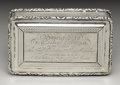 Silver Smalls:Snuff Boxes, A William IV Silver Presentation Snuff Box . Nathaniel Mills,Birmingham, England. 1838. Silver and silver gilt. Marks: (...
