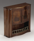 Paintings, A Victorian Mahogany Miniature Hanging Cabinet. Unknown maker, England. Late Nineteenth Century. Mahogany, satinwood, bras...