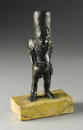 Decorative Arts, Continental:Other , A French Bronze Figural Holder. French. Late Nineteenth / EarlyTwentieth Century. Bronze, marble. 7 in. high. The Napol...