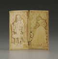Decorative Arts, Continental:Other , A French Carved Ivory Diptych. Unknown maker, possibly Dieppe,France. Nineteenth Century. Ivory. Marks: Inscribed on the...